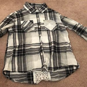 Three plaid shirts with lace stripe on the back